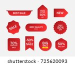 set of sale tags. red banner... | Shutterstock .eps vector #725620093