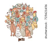 group of hand drawn pets  like... | Shutterstock .eps vector #725621656