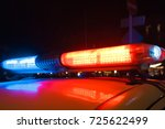 red light flasher atop of a... | Shutterstock . vector #725622499
