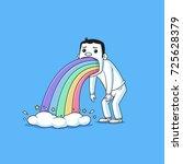 sick guy puking rainbow vector... | Shutterstock .eps vector #725628379