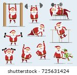 collection of santa clauses.... | Shutterstock .eps vector #725631424