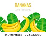 bananas  tropical palm leaves ... | Shutterstock .eps vector #725633080