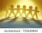 team of paper chain people | Shutterstock . vector #725634844