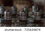 oriental coffee cup   side view ... | Shutterstock . vector #725634874