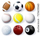vector set of 3d sport ball... | Shutterstock .eps vector #725635060