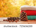 stack pile of cozy colorful... | Shutterstock . vector #725636200