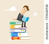 businessman sitting on pile of... | Shutterstock .eps vector #725636938