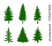 set of green silhouettes of... | Shutterstock .eps vector #725637820