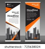 orange roll up banner stand... | Shutterstock .eps vector #725638024