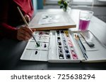 the artist chooses the color... | Shutterstock . vector #725638294