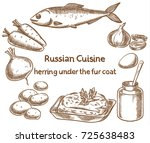 Stock vector russian cuisine herring under a fur coat dressed herring ingredients vector sketch 725638483