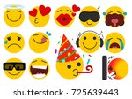set of emoticons with different ... | Shutterstock .eps vector #725639443