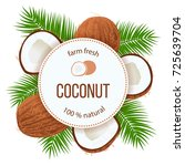 ripe coconuts and palm leaves... | Shutterstock .eps vector #725639704