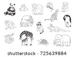 animals with babies graphic... | Shutterstock . vector #725639884