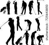 golf players and equipment... | Shutterstock .eps vector #725643850