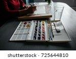 watercolor closeup. the artist... | Shutterstock . vector #725644810