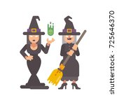 two witches in pointy hats.... | Shutterstock .eps vector #725646370