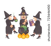 three wicked old witches... | Shutterstock .eps vector #725646400