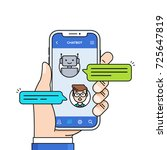 chatbot concept. man chatting... | Shutterstock .eps vector #725647819