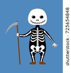 kid wearing skeleton costume...   Shutterstock .eps vector #725654848