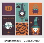 halloween set. cute witch in... | Shutterstock .eps vector #725660980