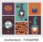 halloween set. cute witch in... | Shutterstock .eps vector #725660980