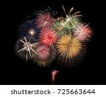 the fireworks in the night sky | Shutterstock . vector #725663644
