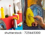 female painter drawing in art... | Shutterstock . vector #725665300