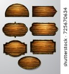 wooden signs  vector icon set | Shutterstock .eps vector #725670634