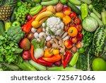 fruit and vegetables background ... | Shutterstock . vector #725671066
