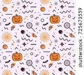 halloween seamless pattern with ... | Shutterstock .eps vector #725673559