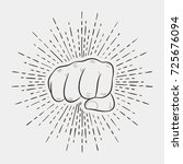 fist with sunburst  human hand... | Shutterstock .eps vector #725676094