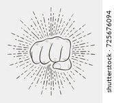 fist with sunburst  human hand...   Shutterstock .eps vector #725676094