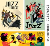 abstract jazz poster collection ... | Shutterstock .eps vector #725676928