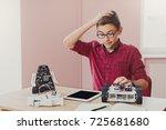 stem education. embarrassed boy ... | Shutterstock . vector #725681680