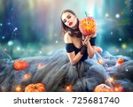 halloween witch with a carved... | Shutterstock . vector #725681740