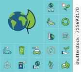 flat color friendly planet and... | Shutterstock .eps vector #725693170