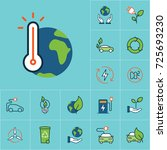 flat color global warming icon  ... | Shutterstock .eps vector #725693230