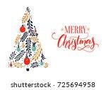 merry christmas card design... | Shutterstock .eps vector #725694958