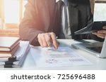 businessman hand working with... | Shutterstock . vector #725696488