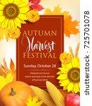 autumn harvest festival poster...   Shutterstock .eps vector #725701078