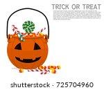 composition of pumpkin basket... | Shutterstock .eps vector #725704960