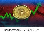 3d illustration of bitcoin over ... | Shutterstock . vector #725710174