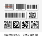 bar and qr code sticker set... | Shutterstock .eps vector #725710540