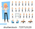set of businesswoman character... | Shutterstock .eps vector #725713120
