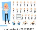 set of businesswoman character... | Shutterstock .eps vector #725713120