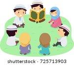 illustration of stickman muslim ... | Shutterstock .eps vector #725713903