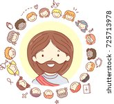 illustration of stickman kids... | Shutterstock .eps vector #725713978