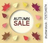 paper origami autumn sale... | Shutterstock .eps vector #725714074