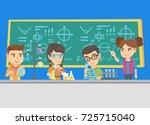 caucasian kids making chemical... | Shutterstock .eps vector #725715040